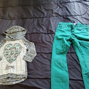 girl size 12 skinny jeans and top